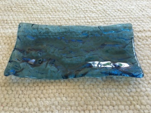Mare Glass blue tray 28 x15 cm - HANDMADE